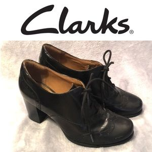 Clarks Artisan Black Leather Heeled Booties